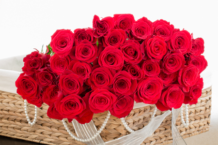 backgruond: Red roses in basket, white backgruond. Stock Photo