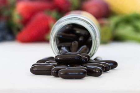 Multivitamin and mutimineral pills, nutritional Supplement. closeup.
