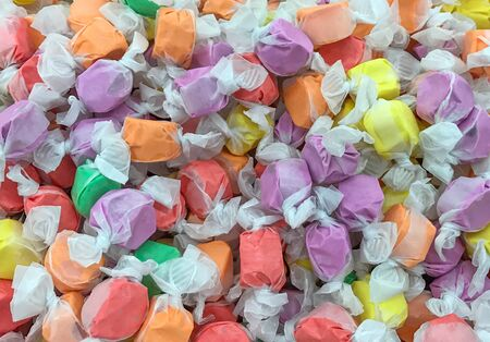 Colorful saltwater Taffy Candy Background.