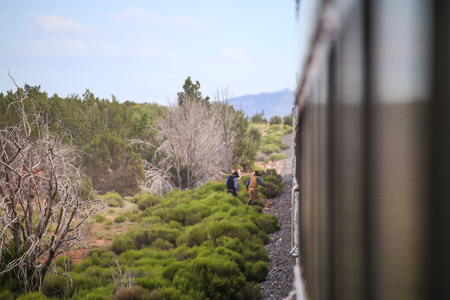 Cowboys train robbery. Stock Photo