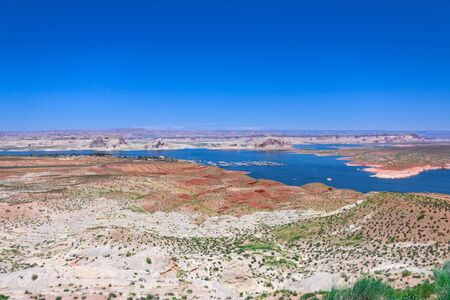 Beautiful Lake Powell on the Colorado River, top view.