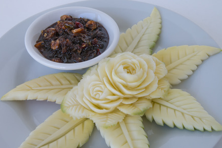Carved Green Mangoes with Sweet fish sauce. Sweet Fish Sauce is a Thai sweet dipping sause recipe that always eat together with sour furits like mango. for more delicious.