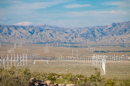 wind turbine farm in the desert of Plam springs, California, USA.