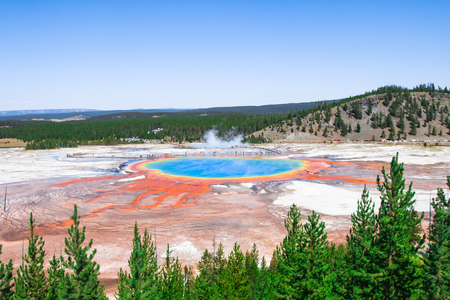 Grand Prismatic Spring in Yellowstone National Park in Wyoming, USA.