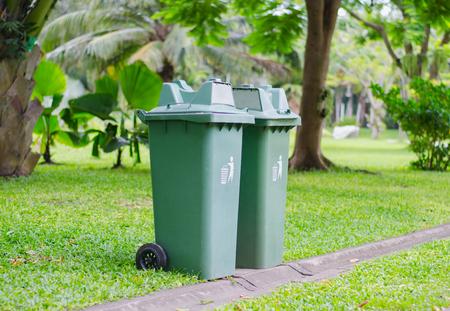 bin in park Stock Photo
