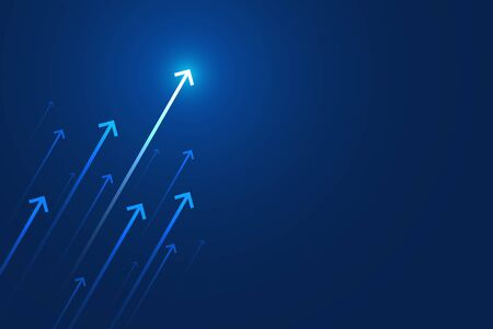 Light up arrow on blue background, copy space composition, business growth concept. Vectores