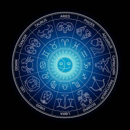 Línea de dibujos animados mínima de la rueda del zodiaco. Ilustración de vector