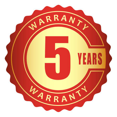 5 years warranty label red gold metallic logo