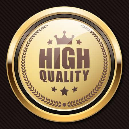 High quality badge blonde glossy gold metallic luxury logo Ilustrace