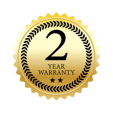2 years warranty word, two star and circle laurel on circle jagged edge badge vector. Minimalist style, black and gradient gold color, glossy metallic texture.