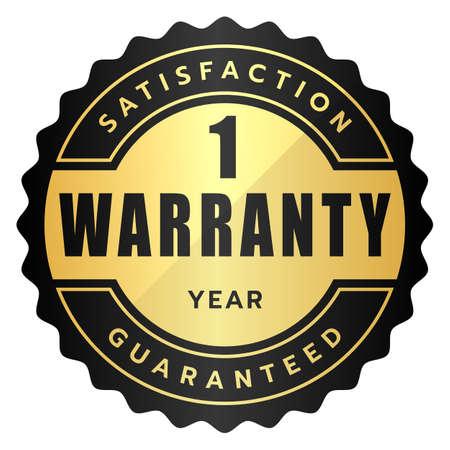 1 year warranty satisfaction guaranteed label black gold metallic logo