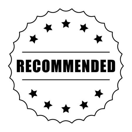 Recommended word and five star on circle jagged edge badge vector. Minimalist style, simple design, black and white color.