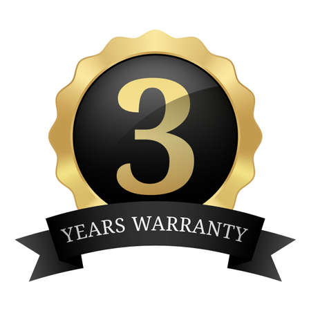 3 years warranty badge with ribbon black and gold glossy metallic luxury vintage logo Ilustrace