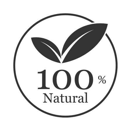 100% natural word and leaf symbol on circle badge vector. Minimalist style, black and white color.