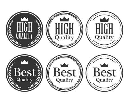 High quality crown and circle laurel on circle badge minimal black and white color logo Ilustrace