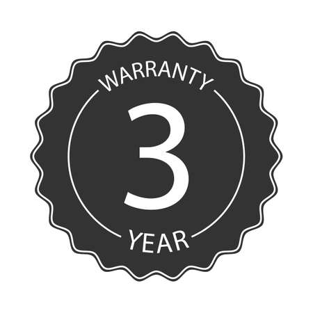 3 year warranty word on circle jagged edge badge vector. Minimalist style, simple design, black and white color. Ilustrace