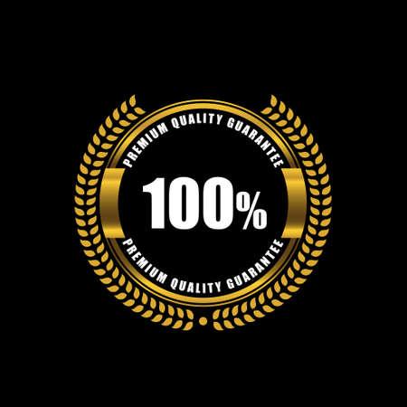 Premium quality guarantee logo with laurel gold color design on black background.