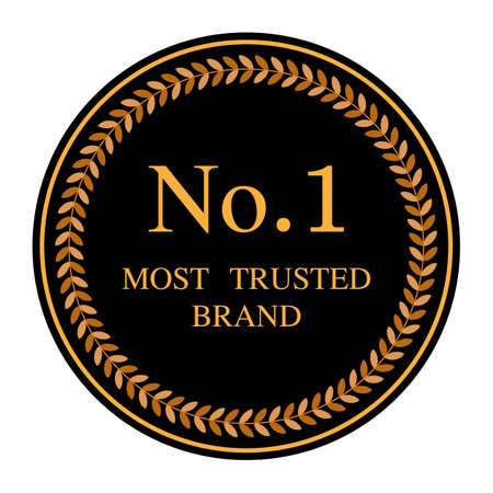 No.1 most trusted brand word and circle laurel on circle badge vector. Minimalist style, Simple design, black and yellow color. Ilustrace