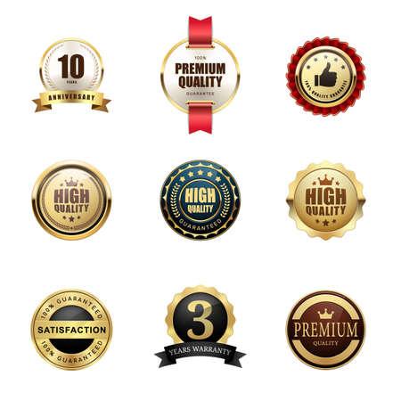 Set of premium quality guarantee badge award logo glossy metallic luxury