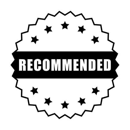 Recommended word and five star on circle jagged edge badge vector. Minimalist style, simple design, black and white color. Ilustrace