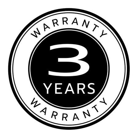 3 years warranty word on circle badge vector. Minimalist style, simple design, black and white color. Ilustrace