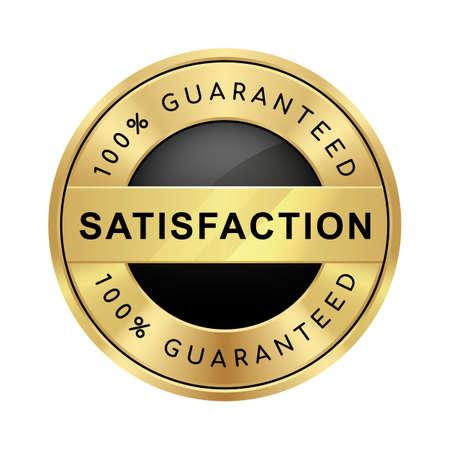 100% satisfaction guaranteed badge black and gold glossy metallic luxury logo