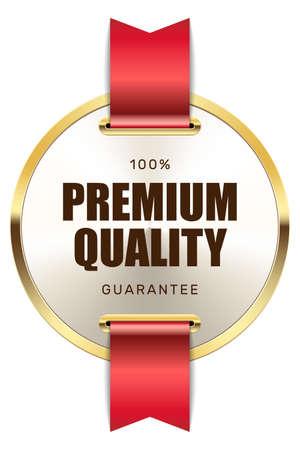 100% premium quality guarantee badge ribbon gold silver metallic luxury logo Ilustrace
