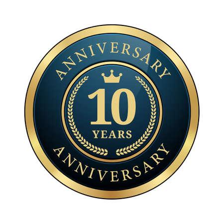 10 years anniversary badge crown laurel wreath glossy dark blue metallic gold round logo