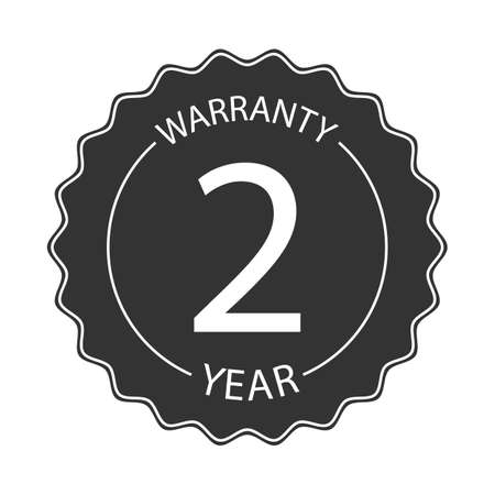 2 year warranty word on circle jagged edge badge vector. Minimalist style, simple design, black and white color. Ilustrace