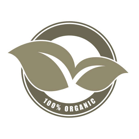 100% organic word and leaf symbol on circle badge vector. Minimalist style, simple design, white and green color.