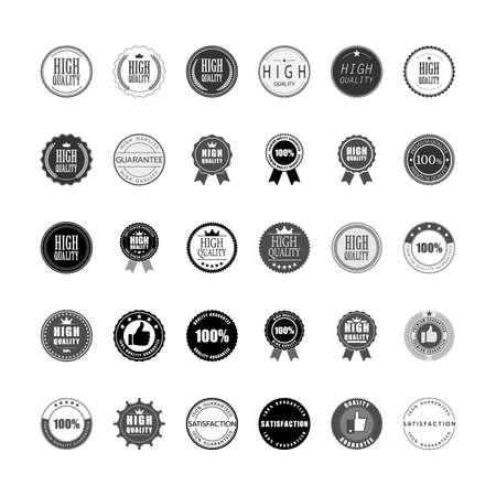 Set of high quality premium guarantee logo