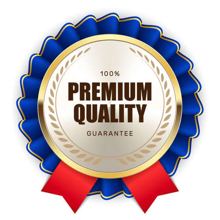 100% premium quality guarantee badge ribbon gold silver metallic luxury logo