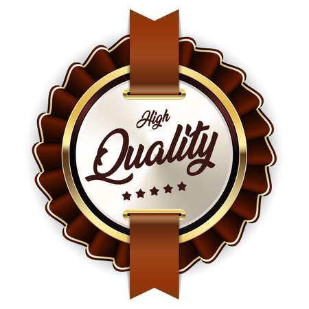 High quality badge ribbon gold silver brown metallic luxury logo