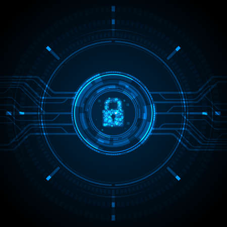 Blue light data lock icon and circle circuit digital on dark background cyber security technology concept Vector Illustratie