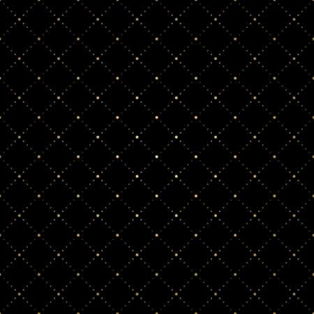 Art deco dot line rhombus seamless pattern vector. Gold geometric diagonal on black background.