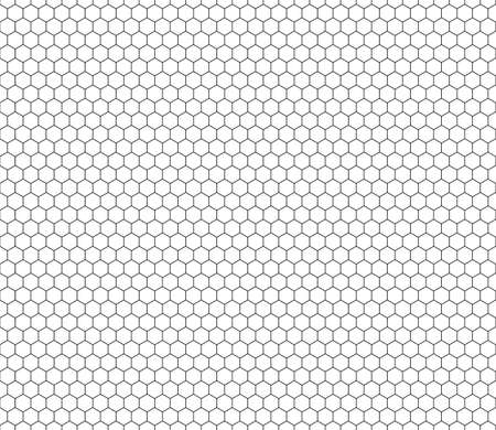 Hexagon seamless pattern black line honeycomb repeatable pattern on white background vector