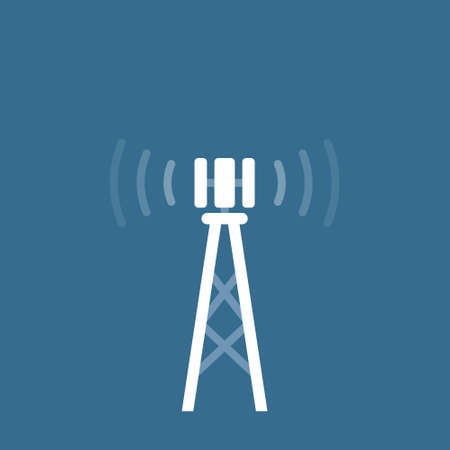 Antenna tower with wireless signal icon, flat minimal design.