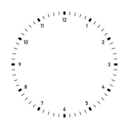 Clock dial vector. Precise and simple design, minimalist style, black and white color.