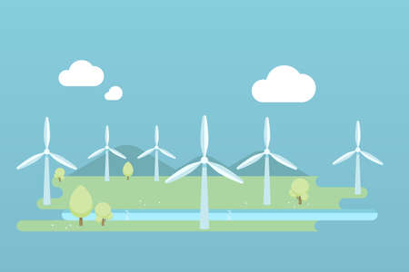 Wind turbine farm landscape illustration flat design.