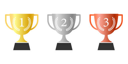 Number 1, 2 and 3 with laurel on trophy award vector collection. Minimalist style, flat design, gold, silver and copper color. Иллюстрация