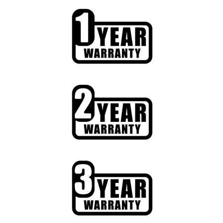 Set of 3 years warranty word sign vector. Minimalist style, simple design, black and white color.