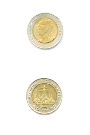 baht: ten baht Thai coin
