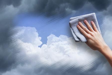 h�nde in der luft: reinigen die Luft