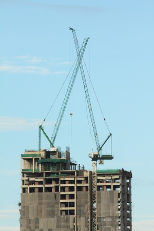 two cranes are working Stock Photo - 14959249