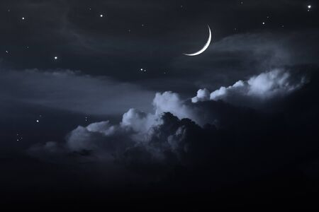night sky with moon Stock Photo