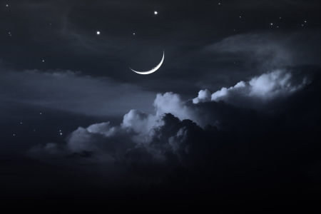 cloudy: night sky with moon Stock Photo