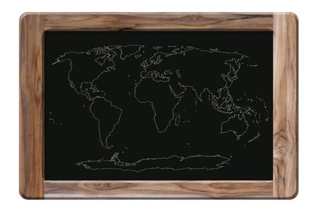 world map on blackboard Stock Photo - 16451561