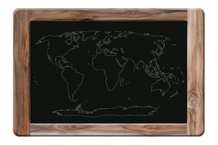 world map on blackboard Stock Photo - 16451561