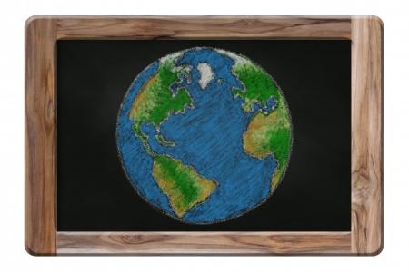 the earth drawing on blackboard Stock Photo - 16451563