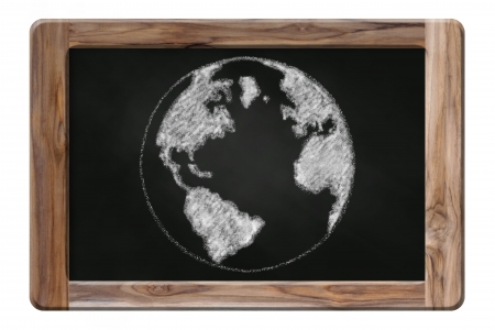 the earth drawing on blackboard photo